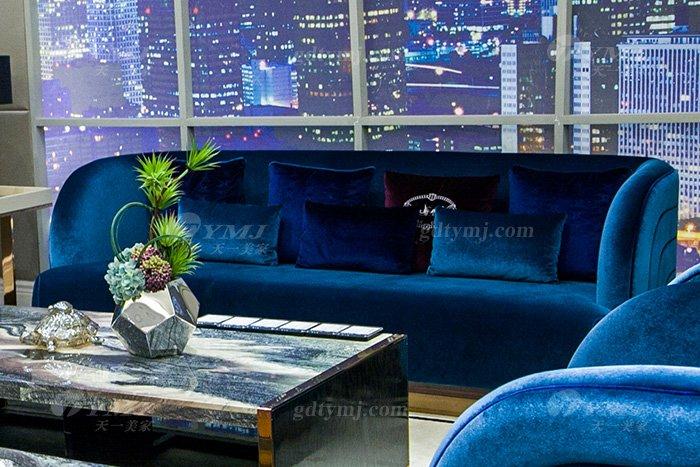 高端奢华万博手机网页品牌别墅轻奢后现代万博手机网页客厅蓝色优质绒布艺沙发组合三位沙发