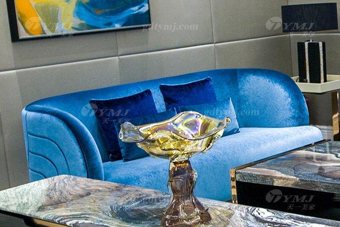 高端奢华万博手机网页品牌别墅轻奢后现代万博手机网页客厅蓝色优质绒布艺沙发组合二位沙发