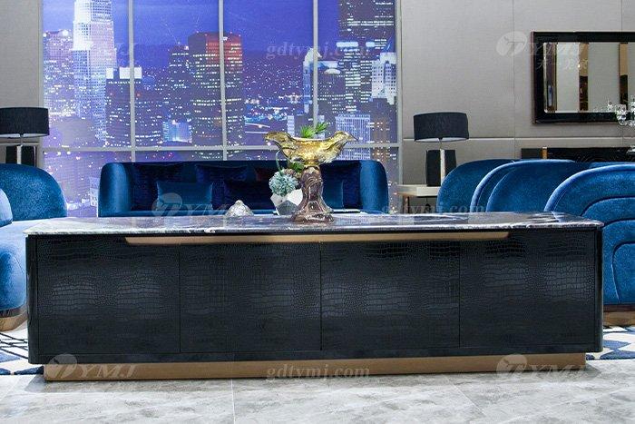 高端奢华万博手机网页品牌别墅轻奢后现代万博手机网页客厅蓝色优质绒布艺沙发组合电视柜