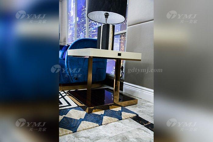 高端奢华家具品牌88bf必发娱乐轻奢后现代家具客厅蓝色优质绒布艺沙发组合角几