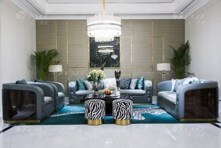 高端私家别墅家具品牌轻奢现代客厅家具时尚蓝色真皮沙发组合