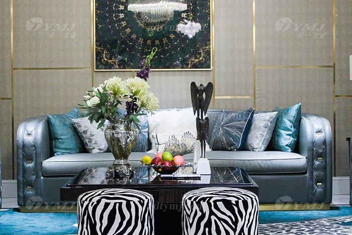 高端私家别墅万博手机网页品牌轻奢现代客厅万博手机网页时尚蓝色真皮沙发组合三位沙发