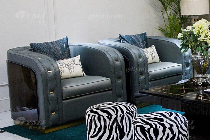 高端私家别墅万博手机网页品牌轻奢现代客厅万博手机网页时尚蓝色真皮沙发组合单位沙发