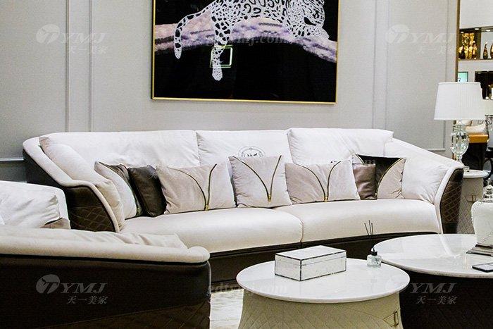 高端奢华万博手机网页别墅品牌轻奢后现代客厅真皮布艺沙发组合三位沙发