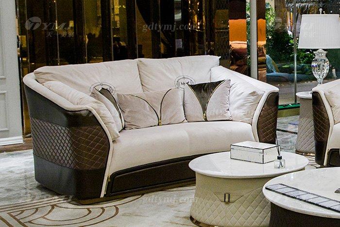 高端奢华万博手机网页别墅品牌轻奢后现代客厅真皮布艺沙发组合二位沙发