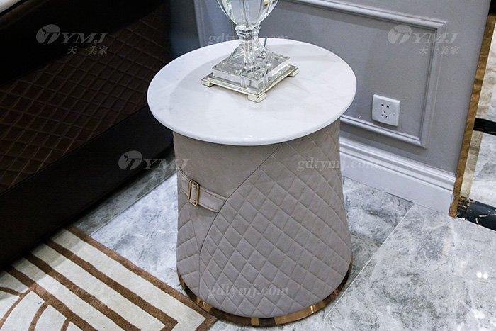 高端奢华万博手机网页别墅品牌轻奢后现代客厅真皮布艺沙发组合小圆几