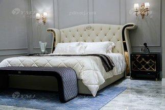 高端奢华别墅万博手机网页品牌轻奢后现代卧室真皮大床系列