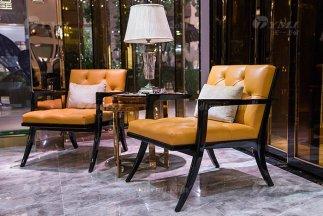 高端奢华会所家具轻奢后现代风爱马仕橙色真皮休闲椅