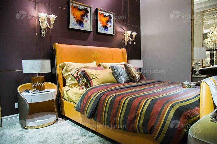 高端别墅豪华万博手机网页轻奢后现代品牌卧室爱马仕橙真皮大床