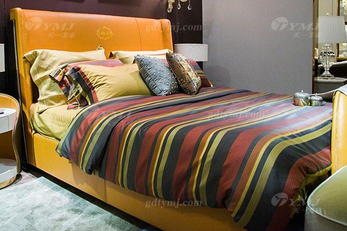 高端别墅豪华万博手机网页轻奢后现代品牌卧室爱马仕橙真皮大床床