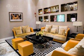 高端大气豪宅万博手机网页别墅轻奢后现代客厅爱马仕橙真皮沙发组合