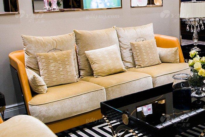 高端大气豪宅万博手机网页别墅轻奢后现代客厅爱马仕橙真皮沙发组合三位沙发