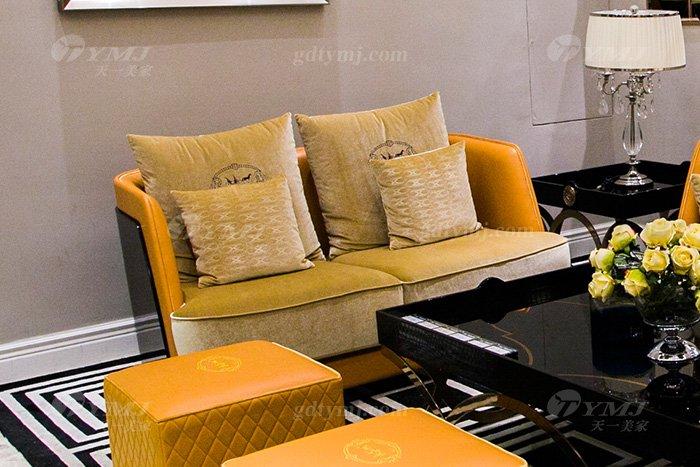 高端大气豪宅万博手机网页别墅轻奢后现代客厅爱马仕橙真皮沙发组合二位沙发