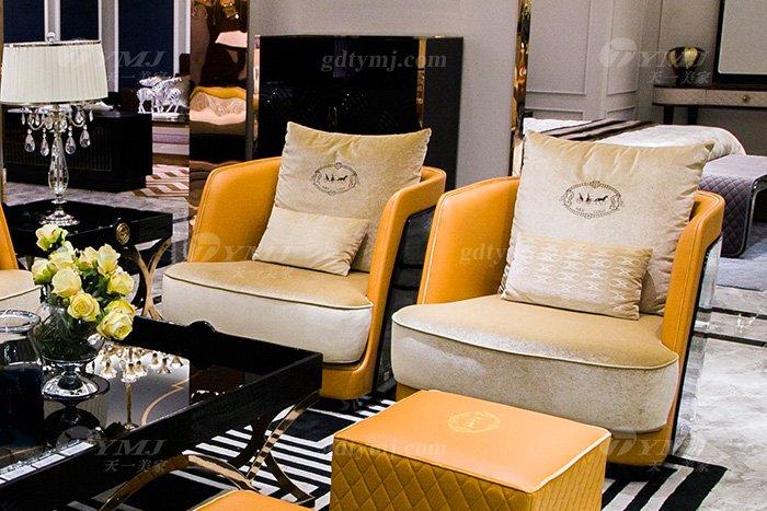 高端大气豪宅万博手机网页别墅轻奢后现代客厅爱马仕橙真皮沙发组合单位沙发