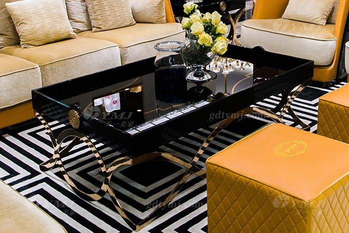 高端大气豪宅万博手机网页别墅轻奢后现代客厅爱马仕橙真皮沙发组合长几
