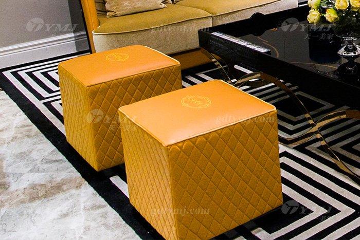 高端大气豪宅万博手机网页别墅轻奢后现代客厅爱马仕橙真皮沙发组合小方凳