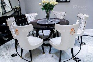 高端奢华品牌家具后现代轻奢餐厅时尚山水紫石面餐桌椅