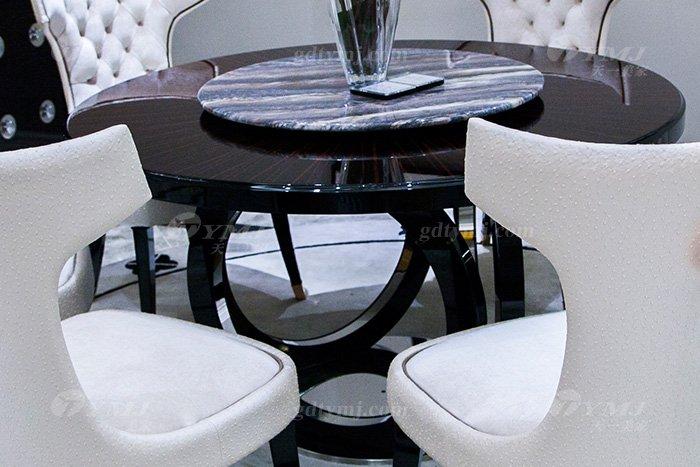 高端奢华品牌万博手机网页后现代轻奢餐厅时尚山水紫石面餐桌椅餐桌