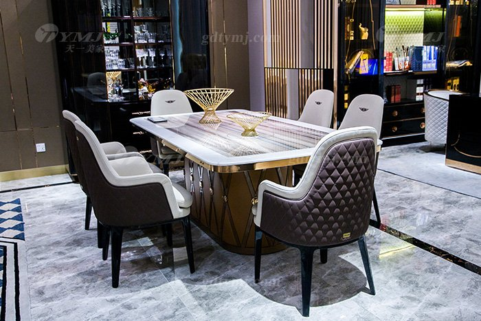 高端大气别墅万博手机网页品牌样板间万博手机网页客厅优质大理石面餐桌椅组合