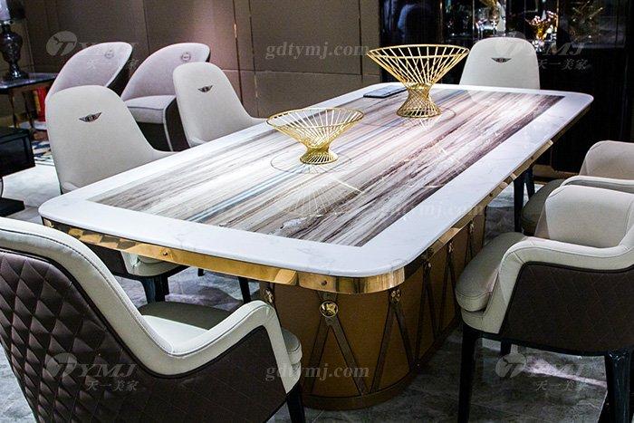 高端大气别墅万博手机网页品牌样板间万博手机网页客厅优质大理石面餐桌椅组合餐桌