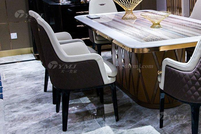 高端大气别墅万博手机网页品牌样板间万博手机网页客厅优质大理石面餐桌椅组合餐椅