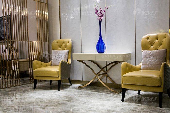 高端会所家具品牌售楼处家具后现代轻奢家具时尚米黄真皮休闲椅