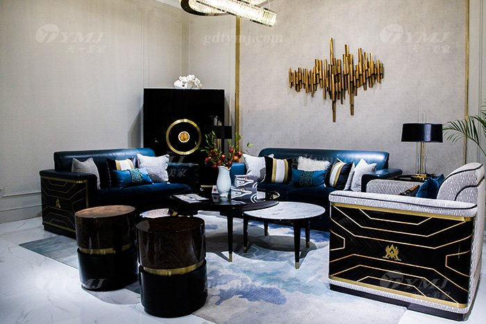 高端奢华家具品牌别墅后现代轻奢家具客厅真皮沙发组合