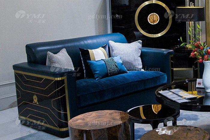 高端奢华万博手机网页品牌别墅后现代轻奢万博手机网页客厅真皮沙发组合二位沙发