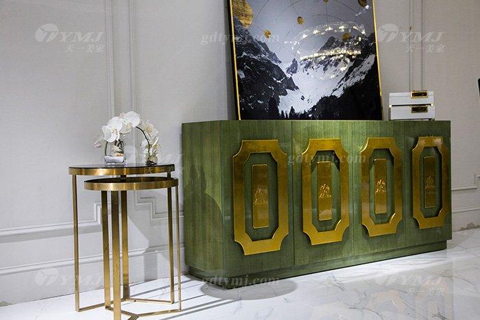 高端大气88bf必发娱乐会所家具轻奢现代翡翠色实木边柜