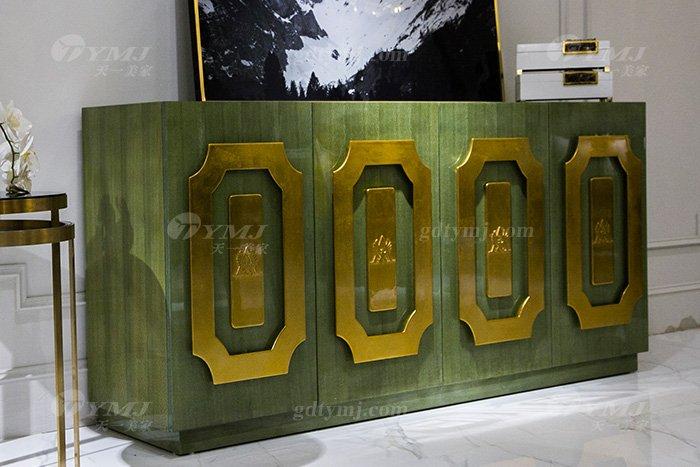 高端大气88bf必发娱乐会所家具轻奢现代翡翠色实木边柜边柜