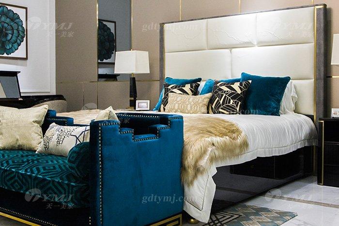 奢华别墅会所家具品牌轻奢现代卧室家具真皮雕花大床组合床