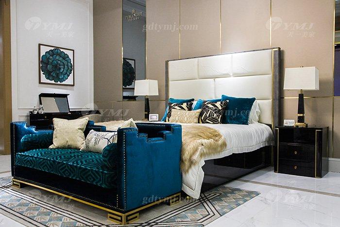 奢华别墅会所家具品牌轻奢现代卧室家具真皮雕花大床组合