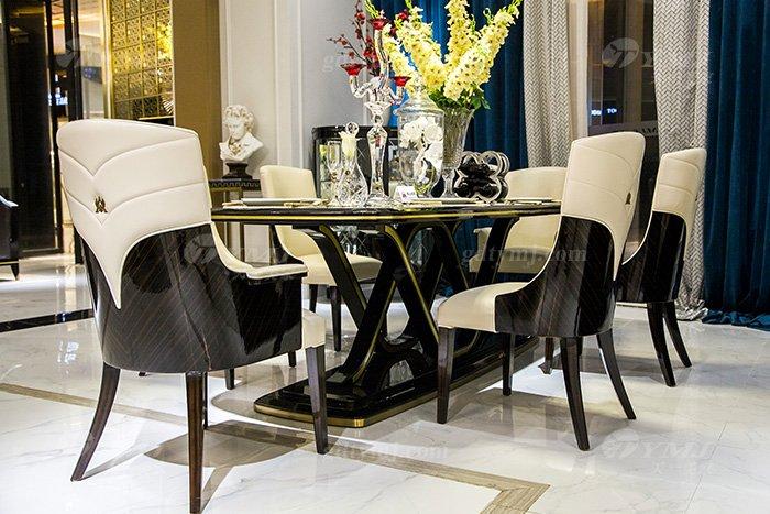 高端奢华会所别墅品牌轻奢现代餐厅万博手机网页黑檀超纤餐桌椅组合