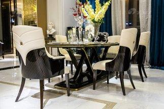高端奢华会所88bf必发娱乐品牌轻奢现代餐厅家具黑檀超纤餐桌椅组合