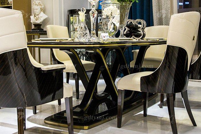 高端奢华会所别墅品牌轻奢现代餐厅万博手机网页黑檀超纤餐桌椅组合餐桌