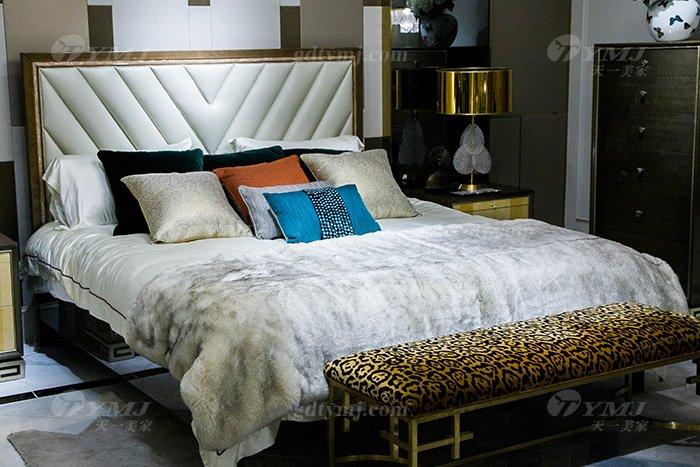 高端奢华别墅万博手机网页品牌现代轻奢时尚实木镶彩贝大床组合床