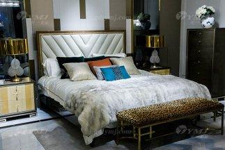 高端奢华88bf必发娱乐家具品牌现代轻奢时尚实木镶彩贝大床组合