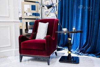 轻奢现代家具别墅豪华家具品牌时尚酒红色优质绒布艺休闲沙发