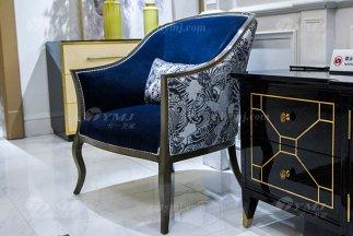轻奢现代家具高端奢华别墅家具品牌实木灰色休闲椅