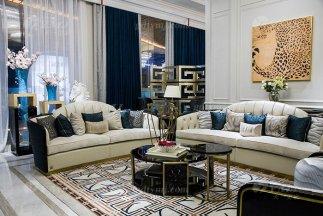 轻奢现代家具品牌高端奢华会所别墅家具客厅实木黑檀真皮沙发组合