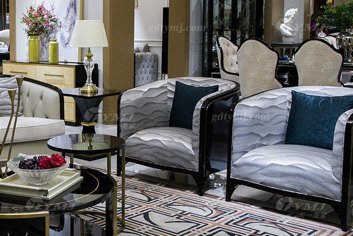 轻奢现代家具品牌高端奢华会所88bf必发娱乐家具客厅实木黑檀真皮沙发组合单人位沙发