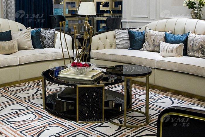 轻奢现代家具品牌高端奢华会所88bf必发娱乐家具客厅实木黑檀真皮沙发组合茶几