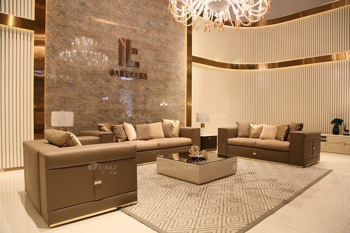 高端意大利纯进口别墅豪宅轻奢万博手机网页品牌时尚客厅真皮沙发组合