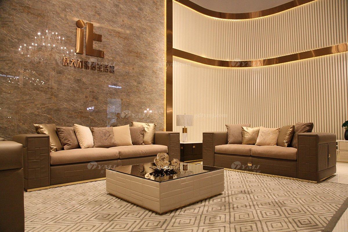 高端意大利纯进口别墅豪宅轻奢万博手机网页品牌时尚客厅真皮沙发组合场景