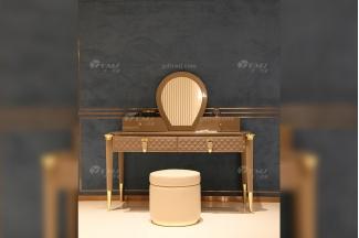意大利100%纯进口别墅豪宅会所家具品牌时尚轻奢镶五金妆台妆椅组合