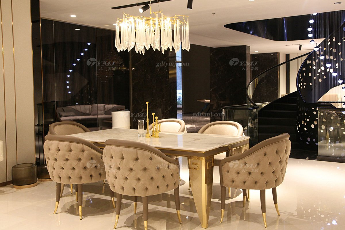 高端意大利100%纯进口家具时尚轻奢别墅豪宅家具品牌大理石面餐台椅组合