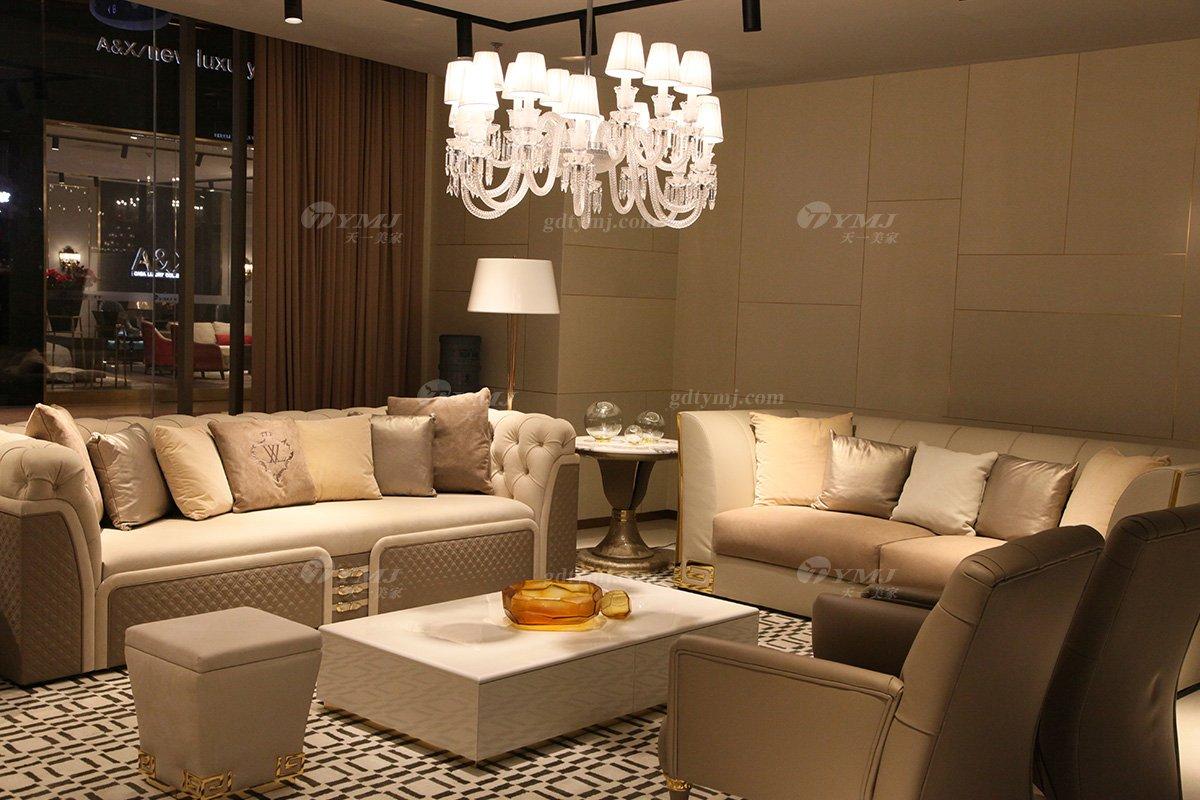意大利100%纯进口家具时尚轻奢别墅会所家具品牌真皮客厅沙发组合