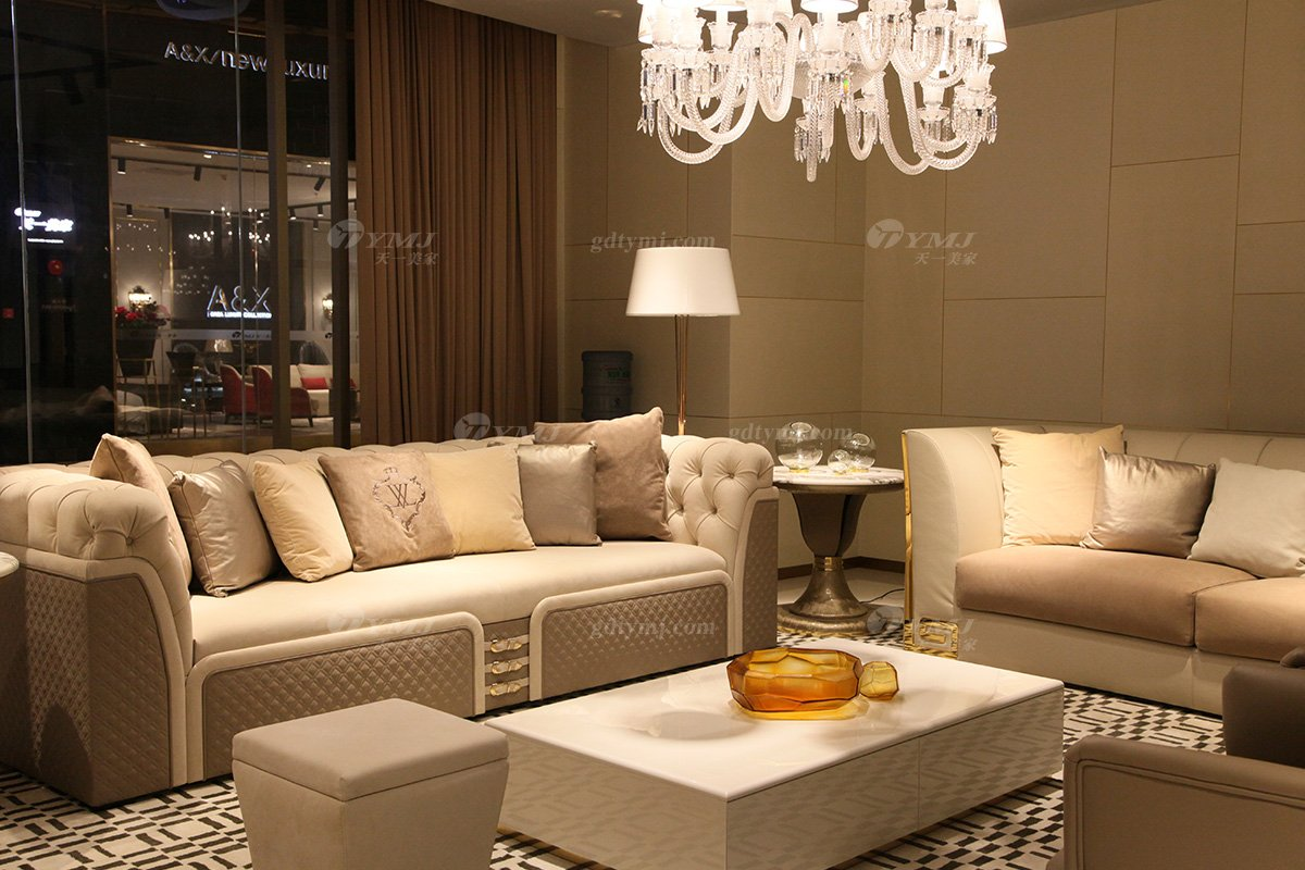 意大利100%纯进口家具时尚轻奢别墅会所家具品牌真皮客厅沙发组合场景