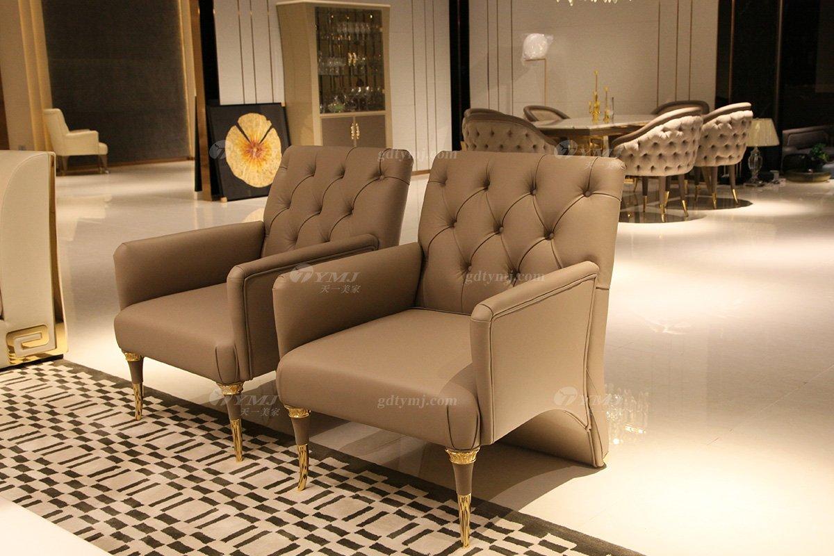 意大利100%纯进口家具时尚轻奢别墅会所家具品牌真皮客厅沙发组合单品1