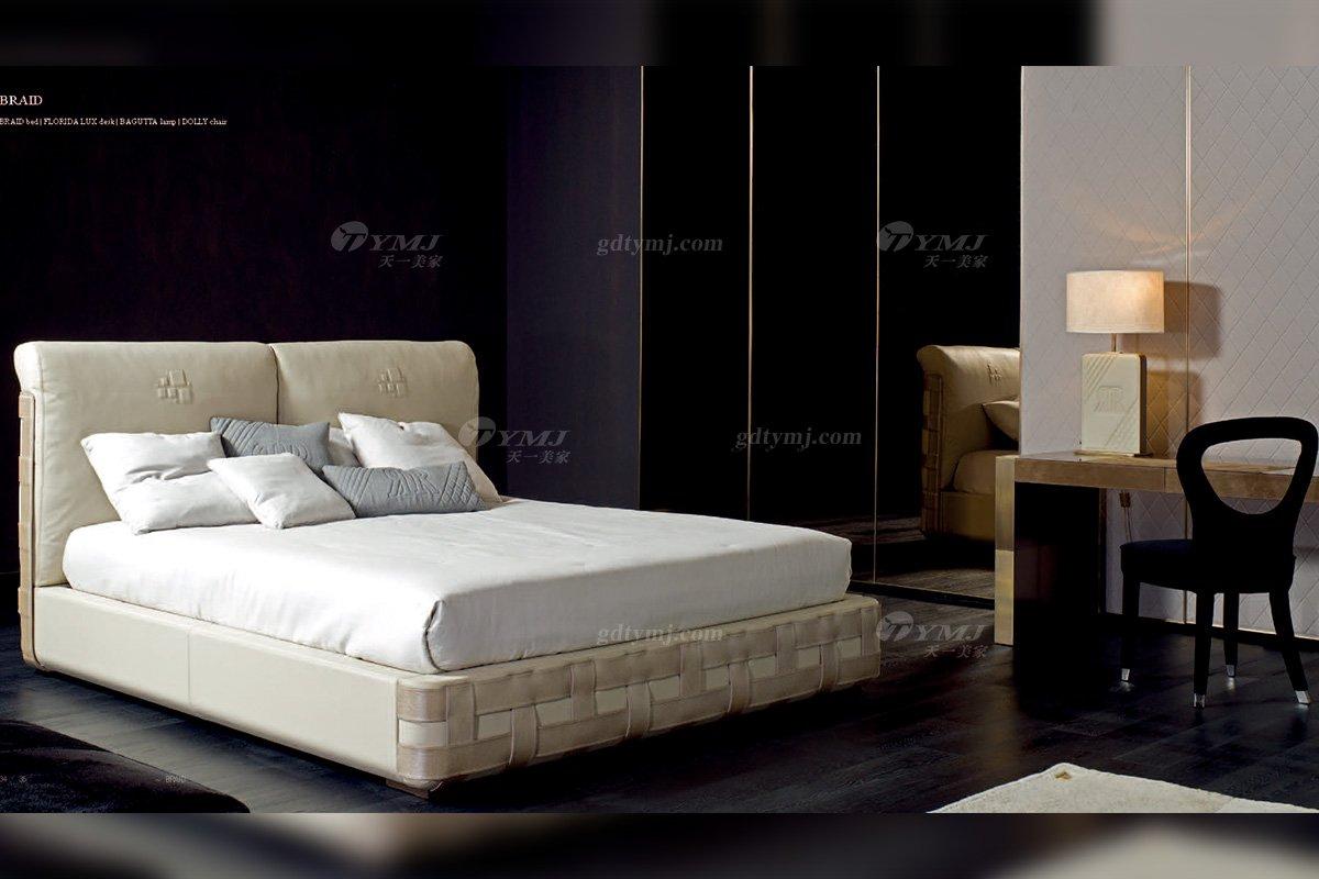 时尚轻奢100%意大利纯进口万博手机网页品牌别墅万博手机网页卧室简约大床床1